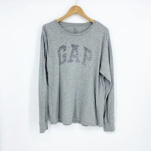 GAP Long-sleeve Spell Out T-Shirt Gray Medium